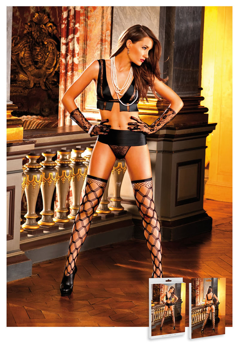 Diamond Net Thigh High Black (disc)